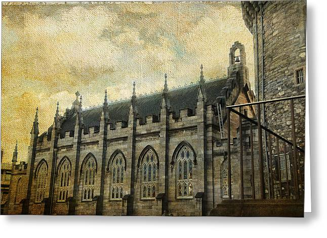 Royal Chapel Greeting Cards - Gothic Revival Chapel. Dublin Castle. Streets of Dublin. Gothic Collection Greeting Card by Jenny Rainbow