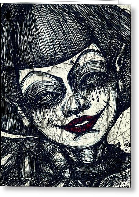 Analog Mixed Media Greeting Cards - Gothic Smile Greeting Card by Akiko Kobayashi