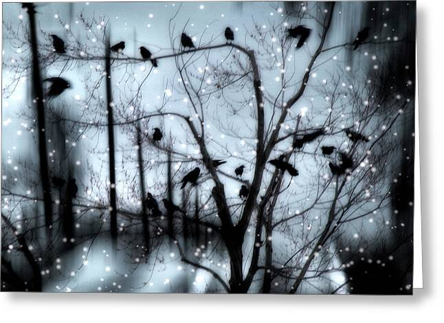 Winter Crows Greeting Cards - Gothic Snow Storm Greeting Card by Gothicolors Donna Snyder