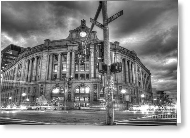 Boston Ma Greeting Cards - Gothic South Station Greeting Card by Dominic Stringer