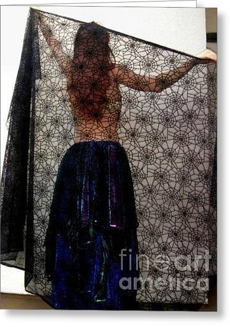 Dancer Tapestries - Textiles Greeting Cards - Gothic style veil for dance. Model Sofia Greeting Card by Ameynra Fashion