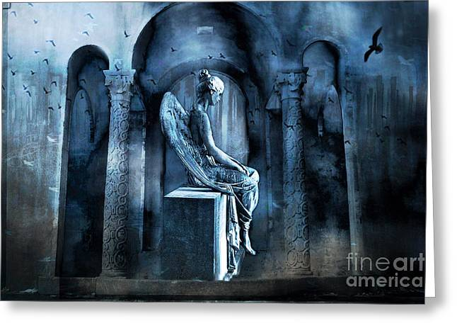 Angel Blues Greeting Cards - Gothic Surreal Angel In Mourning With Ravens Greeting Card by Kathy Fornal