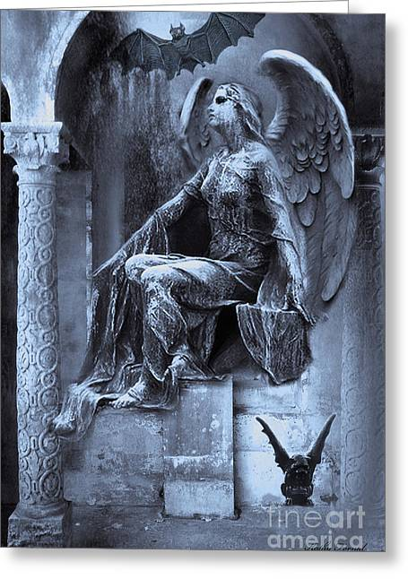 Dark Angels Greeting Cards - Gothic Surreal Cemetery Angel With Gargoyle and Bats Greeting Card by Kathy Fornal