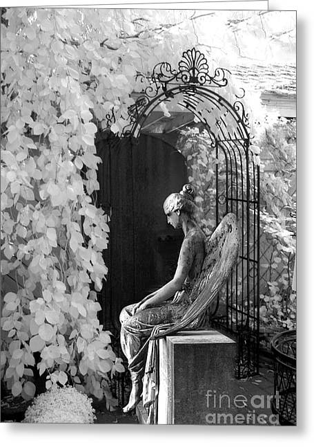 Fantasy Tree Greeting Cards - Gothic Surreal Black and White Infrared Angel Statue Sitting In Mourning Sadness Outside Mausoleum  Greeting Card by Kathy Fornal