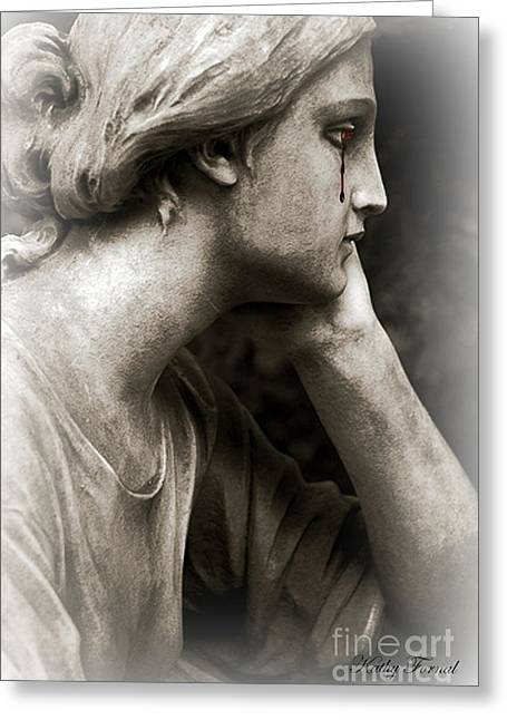 Gothic Fantasy Greeting Cards - Gothic Surreal Fantasy Female Face - Mourning Female Cemetery Statue Crying Tears Of Blood  Greeting Card by Kathy Fornal