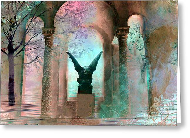 Surreal Pink Nature Prints By Kathy Fornal Greeting Cards - Gothic Surreal Fantasy Haunting Gargoyle Green Teal Nature Woodlands Forest Trees Greeting Card by Kathy Fornal
