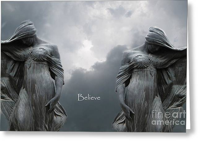 Gothic Surreal Female Figures Haunting Inspirational Spiritual Art - Believe Greeting Card by Kathy Fornal