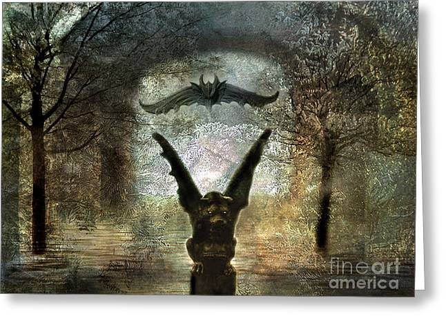 Fantasy Surreal Fine Art By Kathy Fornal Greeting Cards - Gothic Surreal Fantasy Spooky Gargoyles  Greeting Card by Kathy Fornal