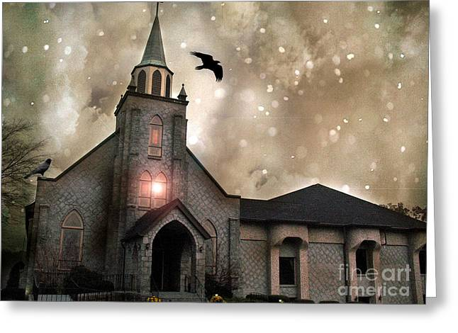 Surreal Gothic Church With Ravens Greeting Cards - Gothic Surreal Haunted Church and Steeple With Crows and Ravens Flying  Greeting Card by Kathy Fornal