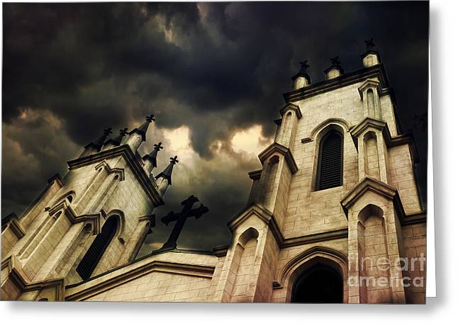 Gothic Surreal Greeting Cards - Gothic Surreal Haunting Church Steeple With Cross - Dark Gothic Church Black Spooky Midnight Sky Greeting Card by Kathy Fornal
