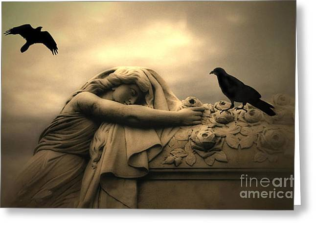 Casket Greeting Cards - Gothic Surreal Haunting Female Cemetery Draped Over Coffin With Black Ravens Greeting Card by Kathy Fornal