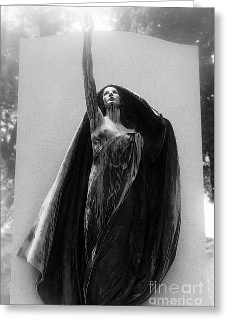 Cemetery Greeting Cards - Gothic Surreal Haunting Female Cemetery Mourner Figure Black Caped Woman In Front of Gravestone Greeting Card by Kathy Fornal
