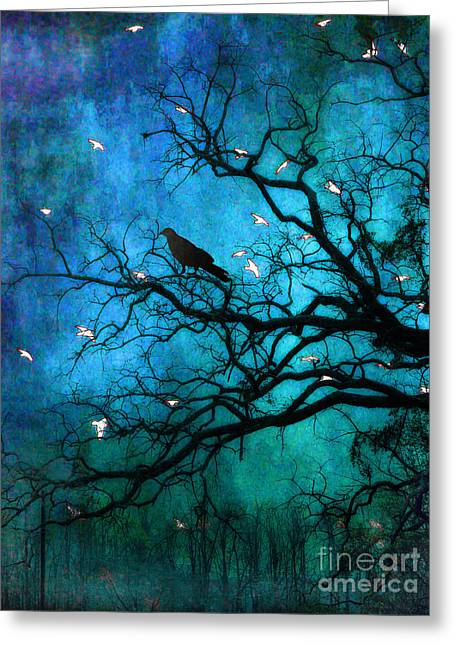 Nature Photo Framed Print Greeting Cards - Gothic Surreal Nature Ravens Crow and Birds Greeting Card by Kathy Fornal