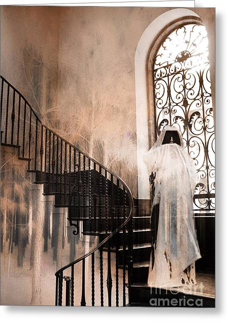 Grim Reaper Greeting Cards - Gothic Surreal Spooky Grim Reaper On Steps Greeting Card by Kathy Fornal