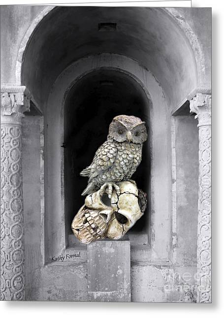 Owl Photography Greeting Cards - Gothic Surreal Spooky Owl and Skull On Post - Surreal Halloween Owl on Skull  Greeting Card by Kathy Fornal