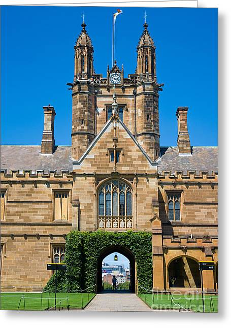 The Quadrangle Greeting Cards - Gothic tower and entrance of Sydney University Greeting Card by David Hill