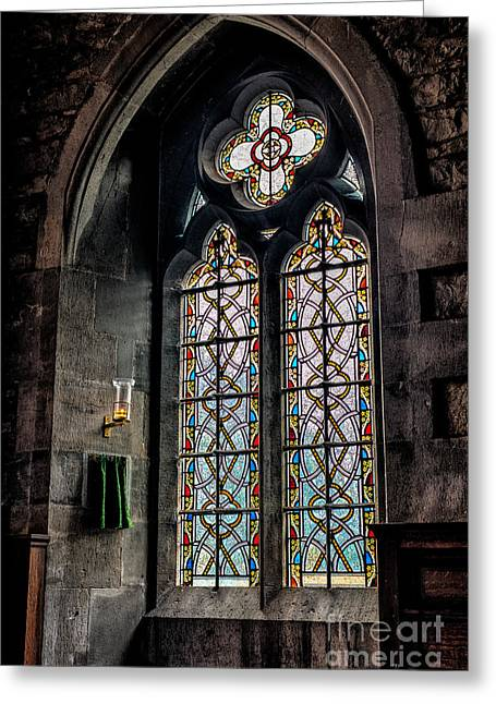 Gothic Window Greeting Card by Adrian Evans