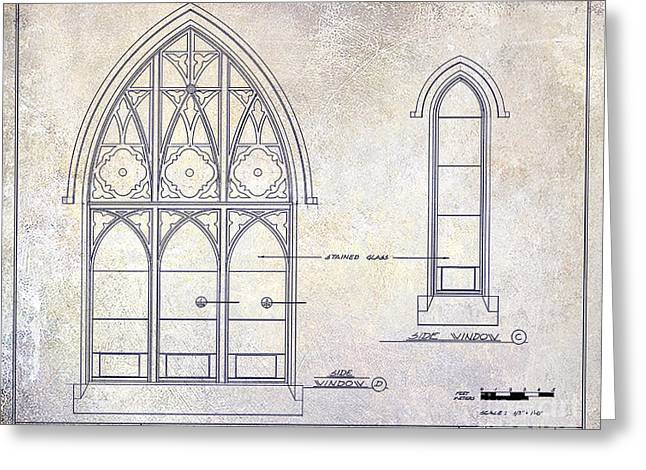 Detail Drawings Greeting Cards - Gothic Window Detail Greeting Card by Jon Neidert