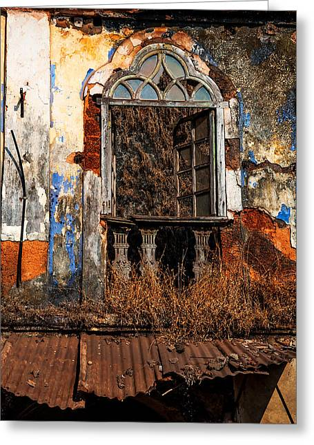 Abandoned Houses Greeting Cards - Old Gothic Window and Roof of Portuguese House. Goa. India Greeting Card by Jenny Rainbow