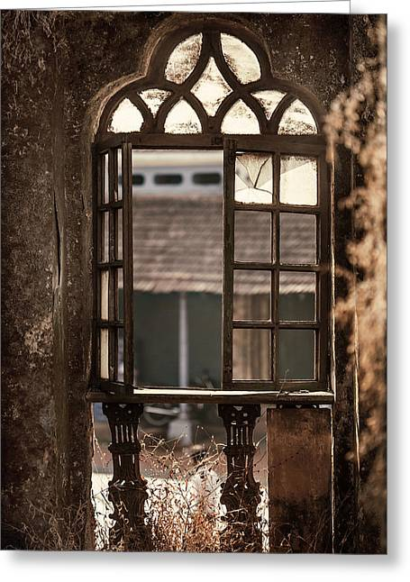 Abandoned Houses Greeting Cards - Gothic Window. Old Portuguese House. Goa. India Greeting Card by Jenny Rainbow