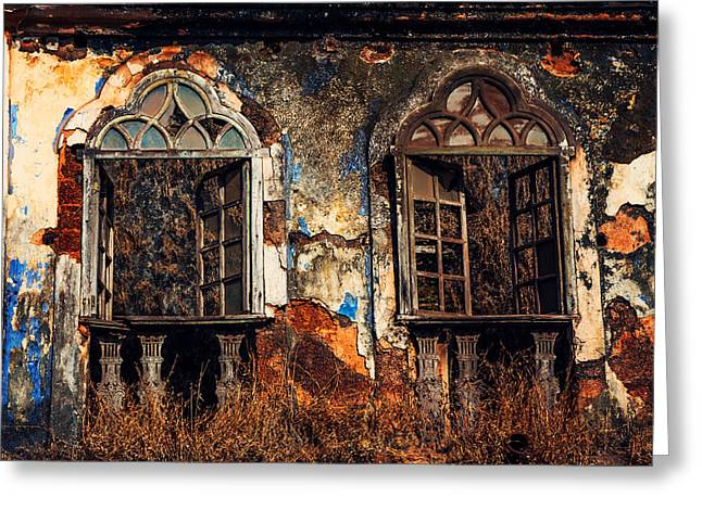 Abandoned Houses Greeting Cards - Gothic Windows. Old Portuguese House. Goa. India Greeting Card by Jenny Rainbow