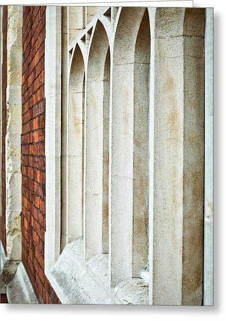 Arch Greeting Cards - Gothic windows Greeting Card by Tom Gowanlock
