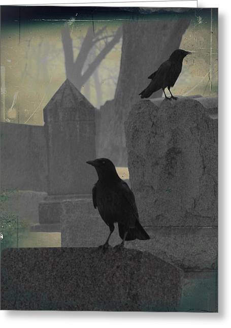 Gothicrow Greeting Cards - Gothic Winter Blackbirds Greeting Card by Gothicolors Donna Snyder