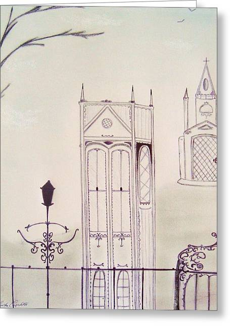 Gothic Pastels Greeting Cards - Gothic Winter Greeting Card by Christine Corretti