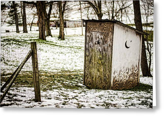 Outhouse Greeting Cards - Gotta Go Greeting Card by Heather Applegate