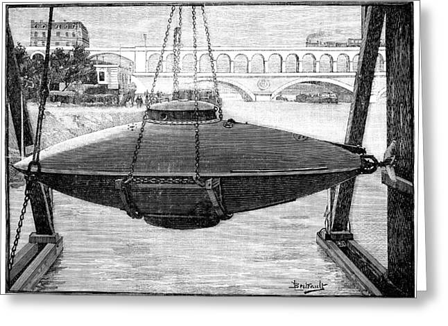 1880s Greeting Cards - Goubet submarine, 1880s Greeting Card by Science Photo Library