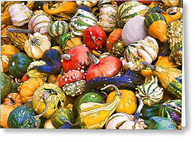 Harvest Time Greeting Cards - Gourds and Pumpkins at the Farmers Market Greeting Card by Peggy Collins