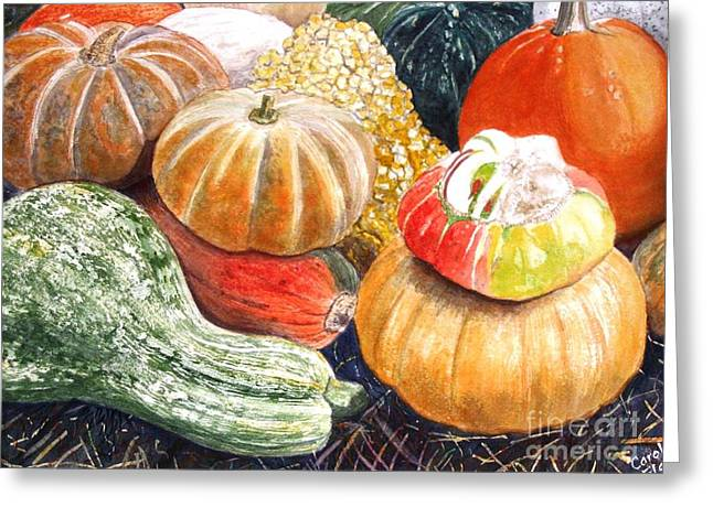 Farm Stand Paintings Greeting Cards - Gourds Greeting Card by Carol Flagg