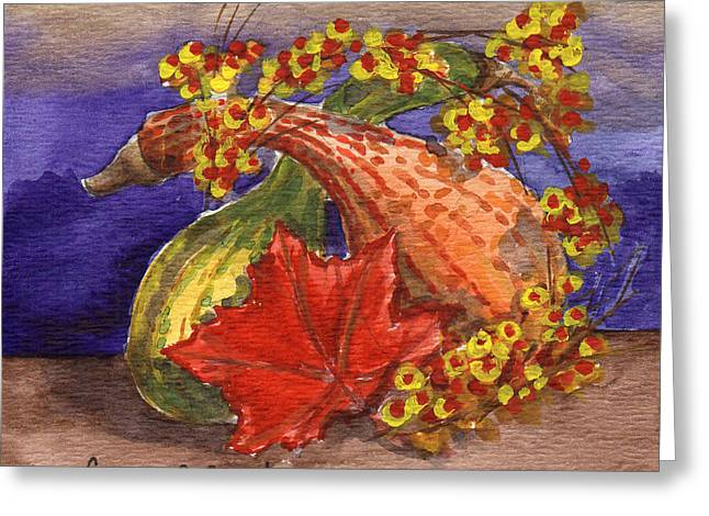 Bittersweet Greeting Cards - Gourds Still Life Greeting Card by Linda L Martin