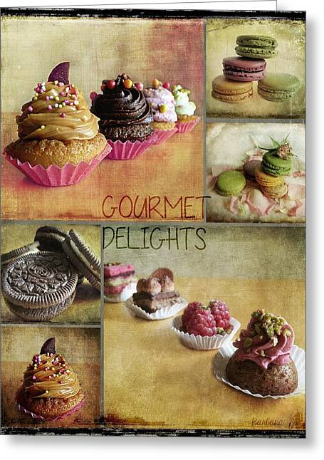 Bakery Poster Greeting Cards - Gourmet Delights - collage Greeting Card by Barbara Orenya