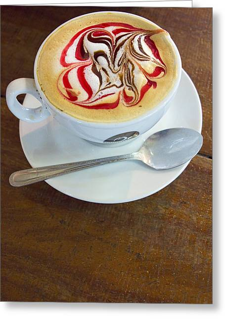 Froth Greeting Cards - Gourmet Latte with red and brown swirls Greeting Card by David Smith