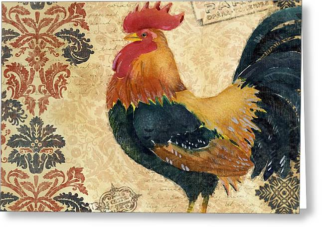 Blue House Greeting Cards - Gourmet Rooster II Greeting Card by Paul Brent