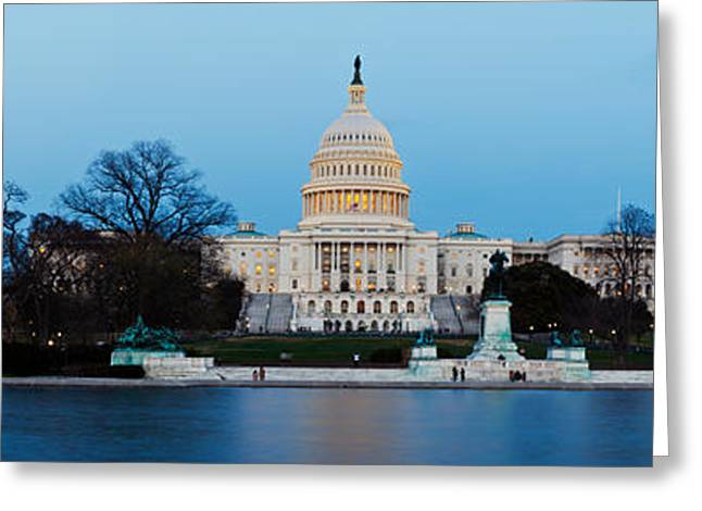 National Mall Greeting Cards - Government Building At Dusk, Capitol Greeting Card by Panoramic Images