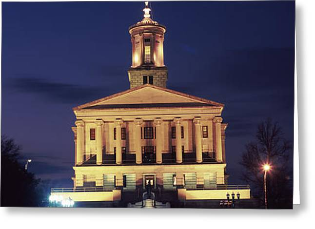 Tennessee Landmark Greeting Cards - Government Building At Dusk, Tennessee Greeting Card by Panoramic Images