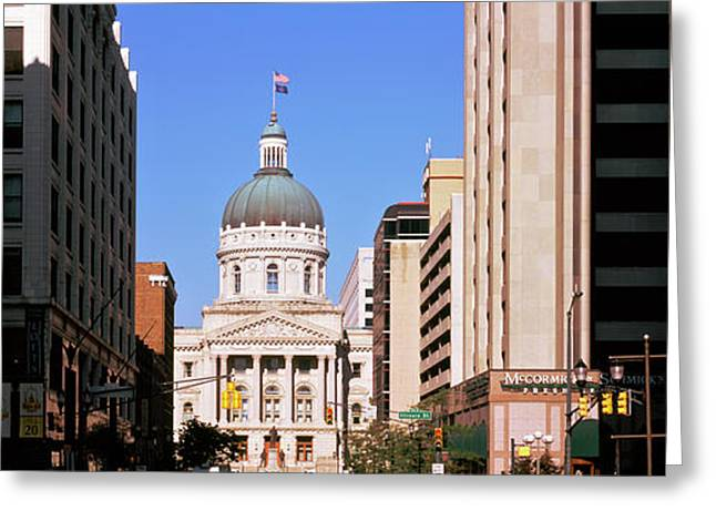 Government Building In A City, Indiana Greeting Card by Panoramic Images