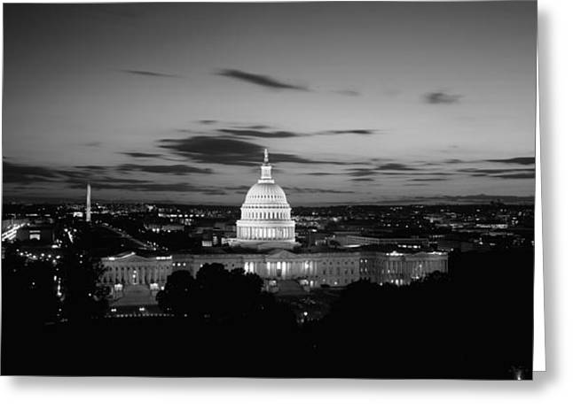 High Angle Greeting Cards - Government Building Lit Up At Night, Us Greeting Card by Panoramic Images