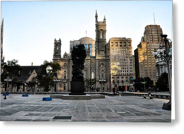 Broad Street Digital Art Greeting Cards - Government of the People Statue Greeting Card by Bill Cannon