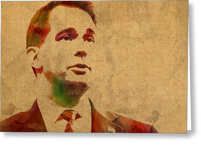 Governors Greeting Cards - Governor Scott Walker Watercolor Portrait On Worn Distressed Canvas Greeting Card by Design Turnpike