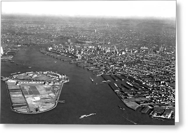 Governor Island Greeting Cards - Governors Island In NY Harbor Greeting Card by Underwood Archives