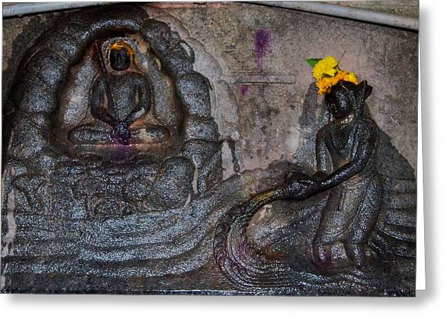 Govinda Greeting Cards - Govindas Cave - Omkareshwar India Greeting Card by Kim Bemis