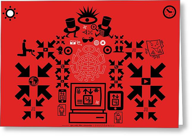 Censorship Digital Art Greeting Cards - Gov_web_filter_censorship TNM Greeting Card by Mark Van den dries