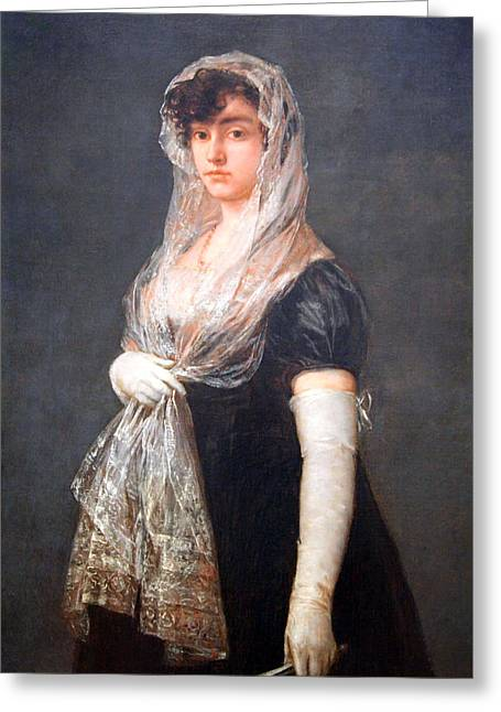 Lady Washington Greeting Cards - Goyas Young Lady Wearing A Mantilla Greeting Card by Cora Wandel