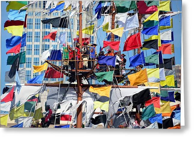Pirate Ship Greeting Cards - Pirates in the rigging 2015 Greeting Card by David Lee Thompson
