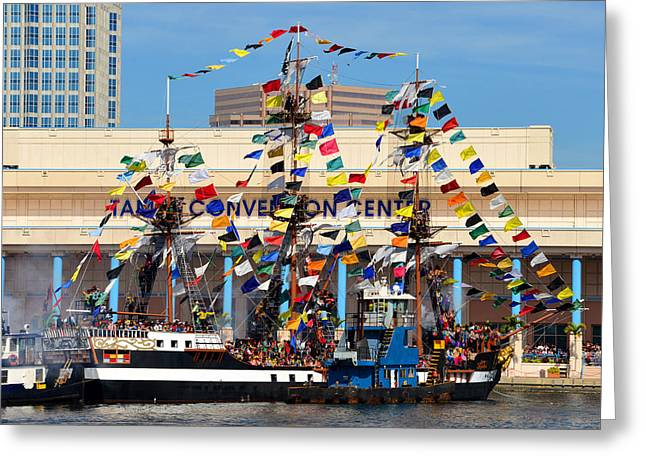 Tampa Convention Center And Gasparilla Greeting Card by David Lee Thompson
