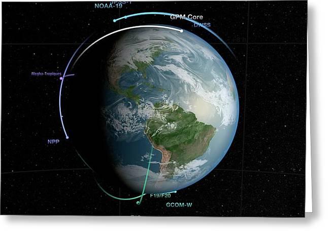Gpm Satellite Constellation Greeting Card by Nasa/goddard Space Flight Center Svs