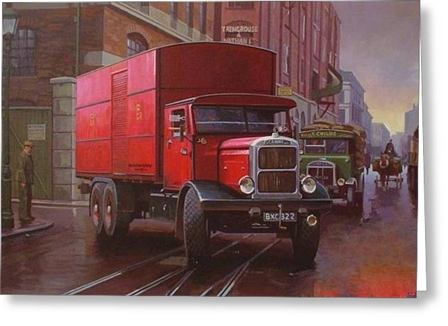 Streetscenes Paintings Greeting Cards - GPO Scammell rigid 6 Greeting Card by Mike  Jeffries